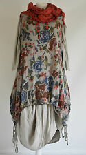 SARAH SANTOS  cotton/linen parachute dress & long floral dress set SZ S/M TAUPE