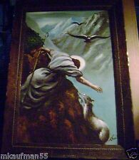 OLD VINTAGE RELIGIOUS PAINTING OF JESUS THE LAMB OF G_D AND THE PRINCE OF PEACE!