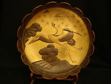 "11 7/8"" D MARKED Matsunaga Itsuki JAPANESE MEIJI LACQUERED WOOD SCALLOPED BOWL"