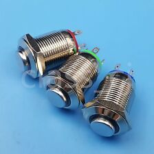 3Pcs 12mm 3V LED Metal Momentary Push Button Switch 1NO 4Pin  Red/Green/Blue