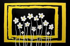 flowers painting, WHITE BEAUTIES abstract original yellow black floral  art