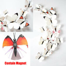 New 12 pcs White 3D Butterfly Wall Stickers Art Decal Home Room Office  Decor UK