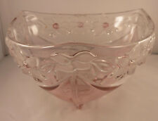 Large Walther glass German pink floral triangular bowl