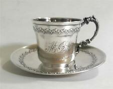 Antique French Sterling Silver Cup & Saucer