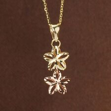Authentic 18K Yellow & Rose Gold Pendant Women's Two  Lucky Flower Link Pendant