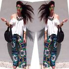 2016 Summer Women Floral Wide Leg Pants Casual Beach Loose Pants Trousers S/M/L