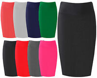 Womens Midi Pencil Skirt Ladies Plain Jersey Bodycon Tube Flare Skirt Plus Sizes