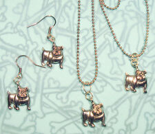 BULLDOG EARRINGS BRACELET NECKLACE SET BRITISH BULLDOG