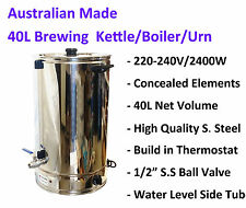 Australian Made 40 Liter S. Steel Boiler/Brewing Kettle with Thermostat Homebrew