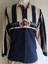 Tommy Hilfiger Men's XXL Polo Rugby Shirt Striped Spell Out Crest Lion 90's Blue