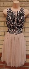 LIPSY DUSTY PINK CROCHET TUTU PARTY PROM FLIPPY FLARE A LINE SKATER DRESS 18