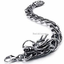Black Silver Tone Mens Stainless Steel Chinese Dragon Chunky Bracelet Boys Gifts