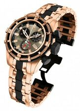 Men's InvictA Reserve 5628 ROSE Gold BOLT Chronogpaph Swiss BLACK NEW case 50mm