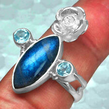 925 Sterling Silver Natural Labradorite Blue Topaz Rings 7.25 US Jewelry