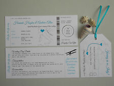 Handmade Boarding Pass/Ticket Wedding Invitation Destination Wedding x 10