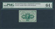 Fr1242 S.E. 10¢ 1St Issue Fractional Currency With Monogram Pmg 64 Epq Br1199