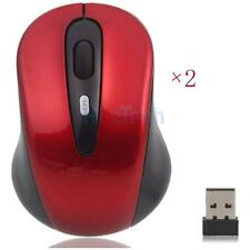 Lot 2 Wireless Optical Mouse 2.4GHz + USB 2.0 Receiver for Dell HP Computers