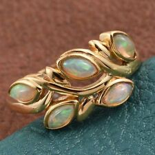 Ethiopian Welo Opal 5 Stone Leaves 14K Y Gold/925 Ring Size S