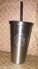 NEW Starbucks Stainless Steel Cold Cup Siren Logo Tumbler Grande Silver 16 fl oz