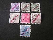 *PORTUGAL, AZORES, SCOTT # 126-132(7),1910 KING MICHAEL II OVPT REPUBLICA  USED