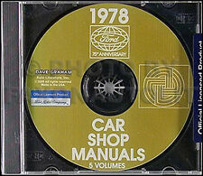 1978 Lincoln Shop Manual CD Continental Mark V Town Car Versailles Repair 78