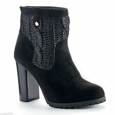 Juicy Couture Women's Black Sweater Faux Suede High Heel Ankle Boots Size 7