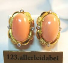 Schöne große Korallen Ohrringe 750 er Gold Brillanten Koralle Engelshaut /AU 500
