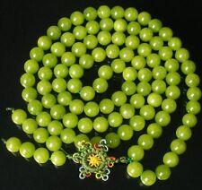 "Superb Chinese 108 Bean Green .4"" Gemstone Buddhist Prayer Mala Beads Necklace"