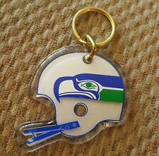 VINTAGE 1980s SEATTLE SEAHAWKS 3 INCH LUCITE HELMET KEYCHAIN, NEW OLD STOCK.