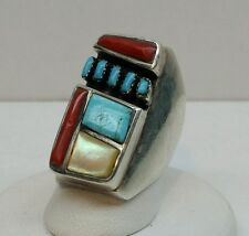 Vtg Signed Zuni Old Pawn Sterling Silver Native American Turquoise Coral Ring