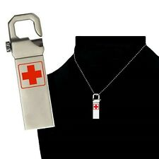 8 GB  Waterproof Medical Records Alert Necklace Key-chain USB Flash WIN 7,8,10