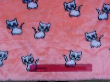 Vintage,material fake fur acryl short pile knitted pink white cats 46x46cm