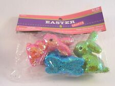 Bag Of 3 Pink Blue Gree Glitter Easter Bunny Decoration Ornaments Spring Basket