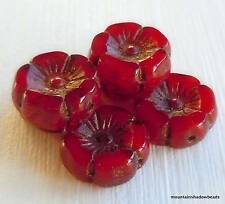 Czech Picasso Beads 12mm Chunky Flower - Red Opal Picasso Czech Glass Beads - 6