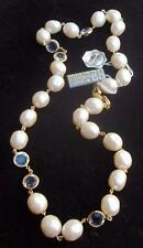 GIVENCHY Vintage Necklace Bezel Set Cased Crystal Beads Elegant Creamy Pearls