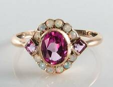LUSH 9CT 9K ROSE GOLD PINK TOPAZ & OPAL ART DECO INS RING FREE RESIZE