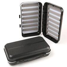 Black Waterproof Fly Fishing Box Double Side Slit Foam Fly Box--166 x 98 x 42 mm