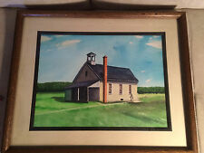 "Nice Bucks County PA Artist Calvin Ruth WC Painting ""Steeley's School"" - Framed"