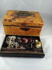 ANTIQUE VICTORIAN WOODEN JEWELLERY BOX SNAKE/CROCODILE SKIN? & JEWELLERY REPAIRS