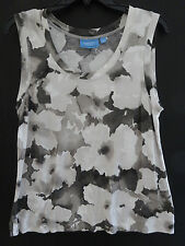 SIMPLY VERA VERA WANG Size L TUNIC TOP SLEEVELESS WORN ONCE TRENDY PRINT RAYON
