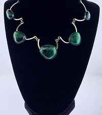 Vintage Sterling Silver Turquoise Cabochon Modernist Scalloped Choker Necklace