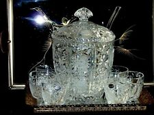 MAGNIFICENT LARGE VINTAGE CRYSTAL PUNCH SET  BOHEMIA C 1970'S