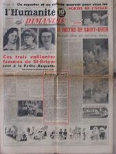 L'Humanité Dimanche (18 juin 1950) Metro St Ouen -Femmes St Brieuc- Portes Large