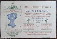 Überlingen Corsett Geschäft Schauber   orig. Visitenkarte   1900  Wilh. Veit