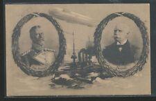 1914 Prinz Heinrich & Zeppelin Battleship Airship Red Cross VF Used Postcard