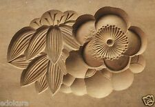 ANTIQUE JAPANESE KASHIGATA Wooden Hand Carved Cake Mold UME & Bamboo with Cover