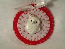 Christmas ornament and decorations, Owl, red, white, white owl