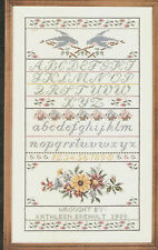"""1988 Janlynn """"A Sampler of Love"""" ABC's Flowers Birds Counted Cross Stitch Kit"""
