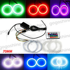 2x 70MM Multi-Color COB LED Angel Eye Halo Ring Light DRL Remote Controller Kit