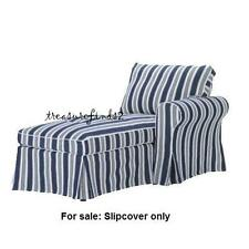 NEW IKEA COVER for EKTORP Right Arm CHAISE Lounge Toftaholm Blue White Stripe